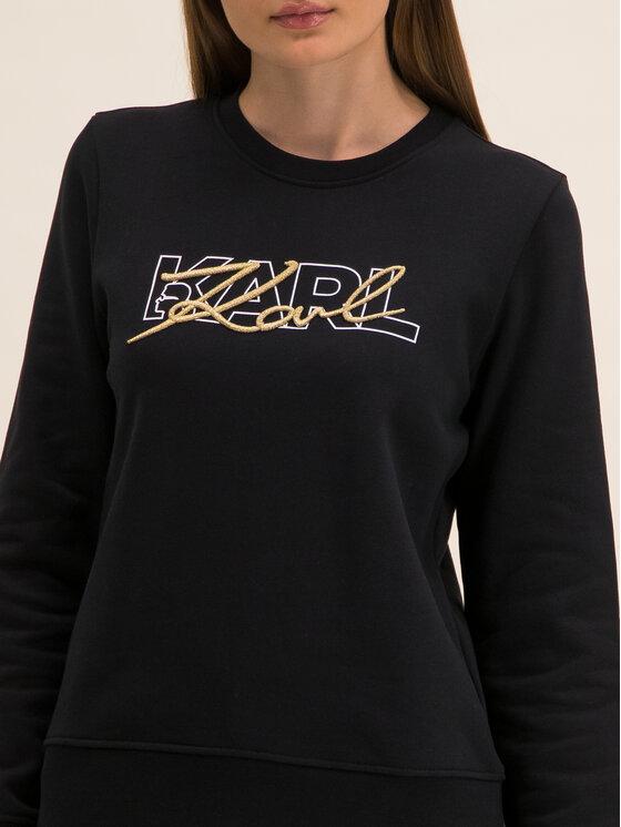 KARL LAGERFELD KARL LAGERFELD Pull Double Logo 96KW1814 Noir Regular Fit