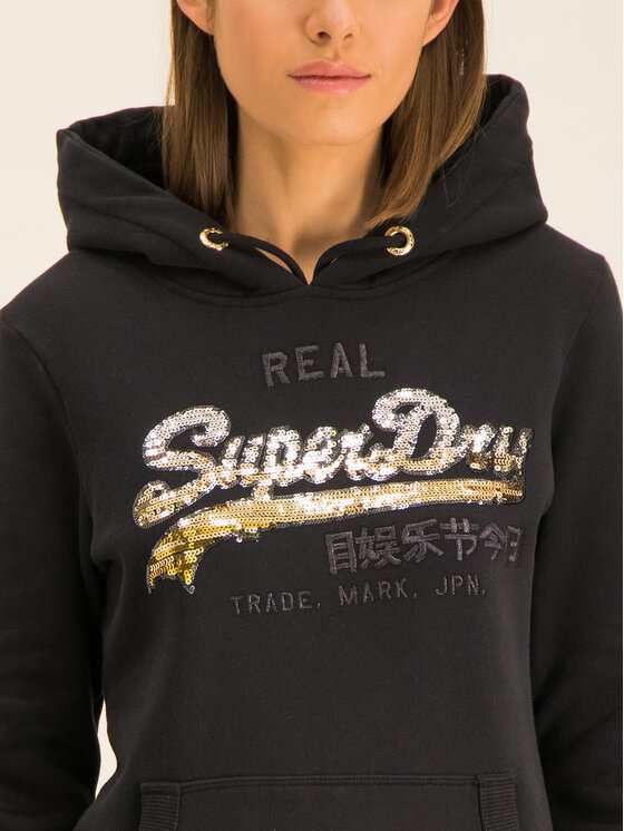 Superdry Superdry Bluza V Logo Ombre Sequin Entry W2000108A Czarny Regular Fit