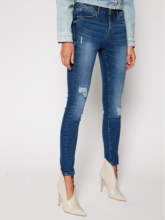 Guess Guess Skinny Fit džíny W0YA03 D4483 Modrá Skinny Fit