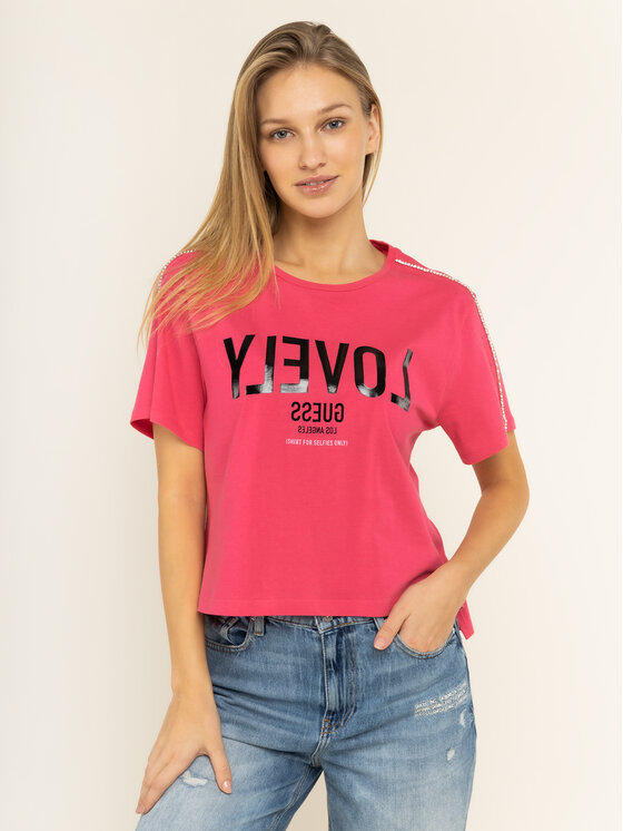 Guess Guess T-shirt W01I95 JA900 Rose Relaxed Fit