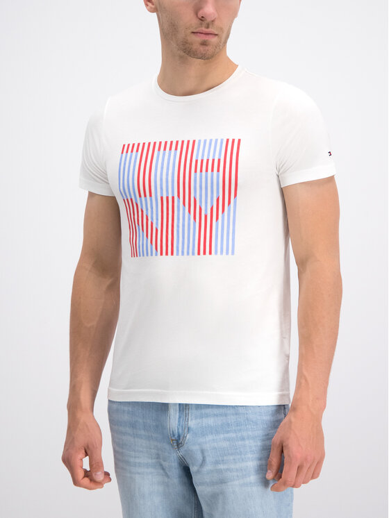 Tommy Hilfiger Tommy Hilfiger T-Shirt Stripe Logo MW0MW10830 Λευκό Regular Fit