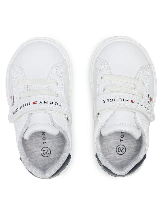 Tommy Hilfiger Tommy Hilfiger Sneakersy Low Cut Lace-Up/Velcoro Sneaker T1B4-31075-0742X336 Biały