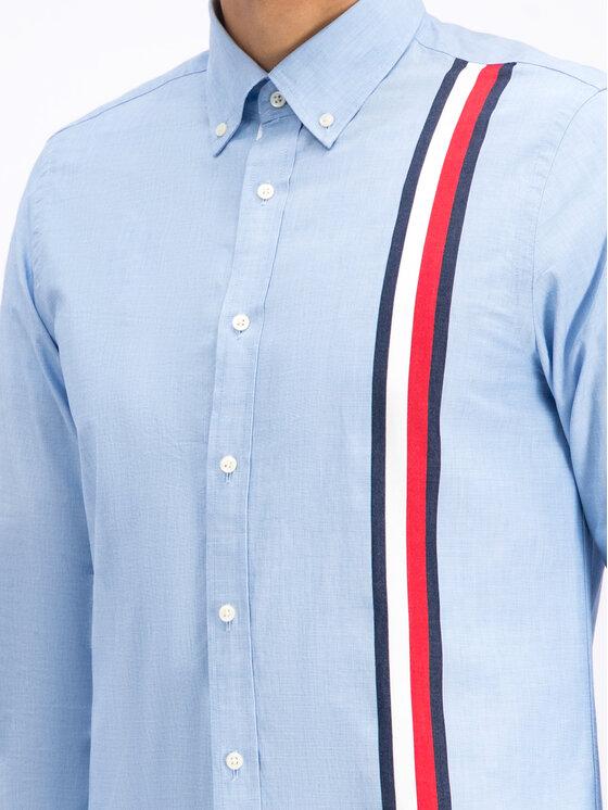 Tommy Hilfiger Tommy Hilfiger Marškiniai Global Stripe MW0MW11038 Mėlyna Slim Fit