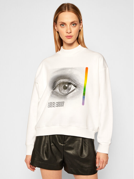 Local Heroes Džemperis Curious Eye Sweatshirt AW2021S0017 Balta Regular Fit