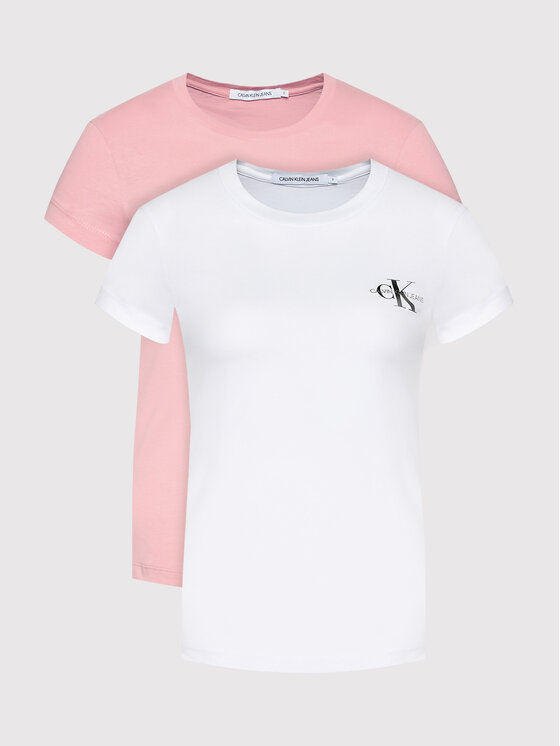 Calvin Klein Jeans 2 marškinėlių komplektas J20J214364 Rožinė Slim Fit