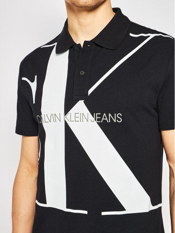 Calvin Klein Jeans Calvin Klein Jeans Polo marškinėliai Upscale Monogram J30J315358 Juoda Regular Fit