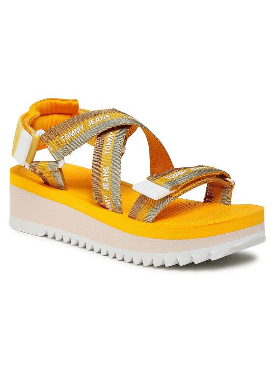 Tommy Jeans Basutės Lurex Webbing Strappy Sandal EN0EN01325 Geltona