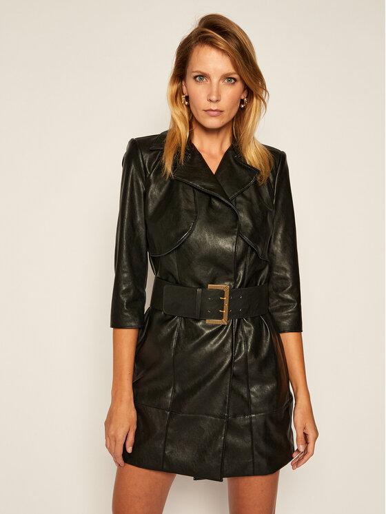 Elisabetta Franchi Dirbtinės odos suknelė AB-058-06E2-V559 Juoda Regular Fit