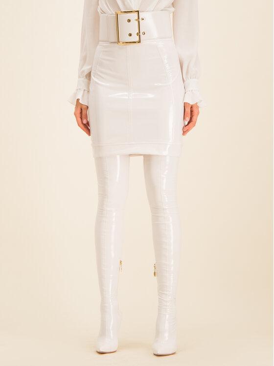 Elisabetta Franchi Dirbtinės odos sijonas GO-337-98E2-V289 Balta Slim Fit