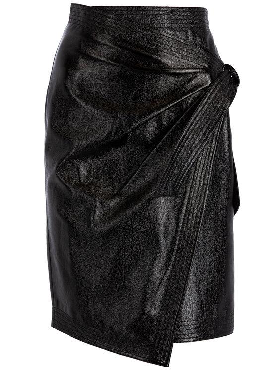 Manila Grace Manila Grace Jupe en cuir N181NU Noir Slim Fit