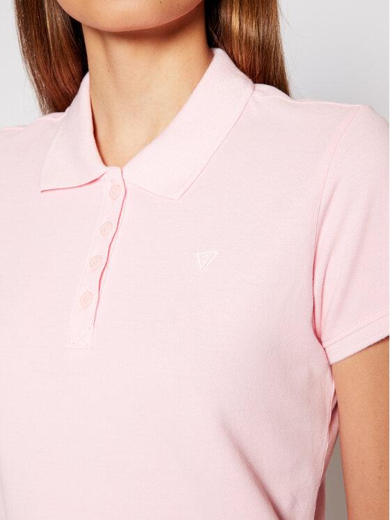 Guess Guess Polo Logo Pique W1YP38 RAQS0 Różowy Slim Fit