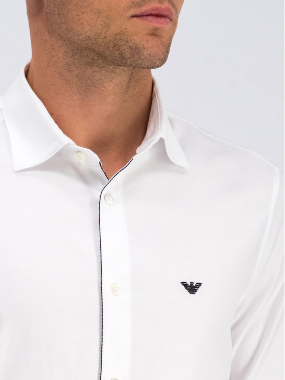 Emporio Armani Emporio Armani Marškiniai 6G1CP5 1NISZ 0100 Balta Regular Fit