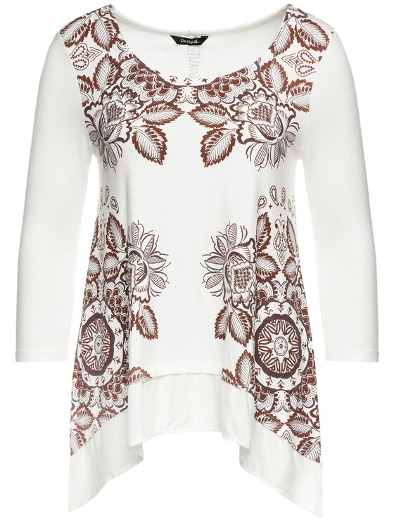 Desigual Desigual Блуза 19WWTK78 Бял Regular Fit