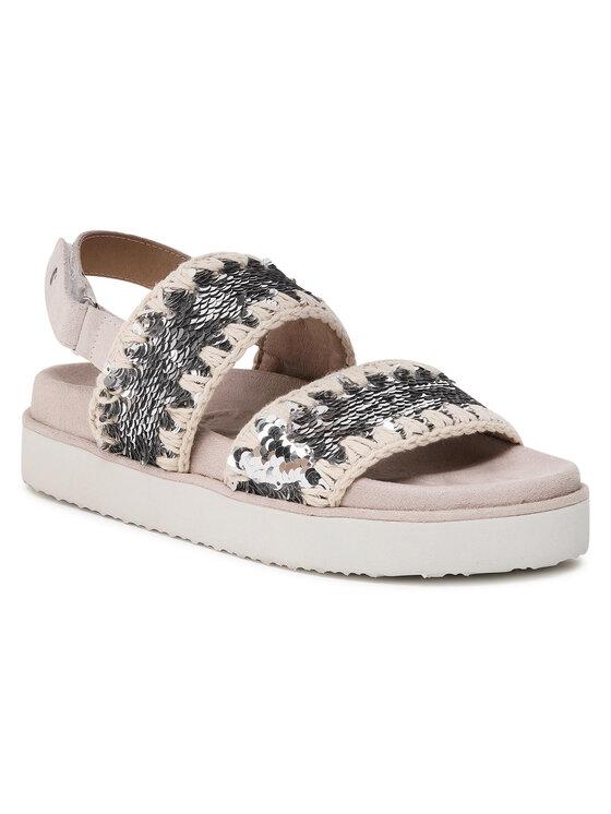 Mou Sandały Bio Sandal Backstrap Sequins SW251002G Beżowy
