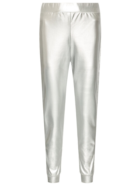 John Richmond John Richmond Spodnie skórzane Giunilda UWP21030PA Srebrny Regular Fit