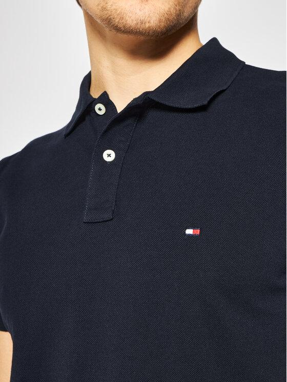 Tommy Hilfiger Tommy Hilfiger Тениска с яка и копчета Shoulder Gs Insert MW0MW13087 Тъмносин Slim Fit
