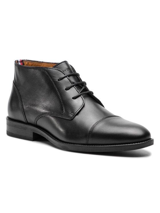 Tommy Hilfiger Tommy Hilfiger Šnurovacia obuv Essential Leather Toecap Boot FM0FM02138 Čierna