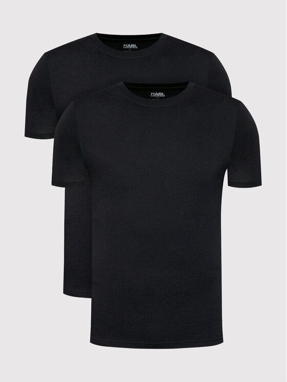 KARL LAGERFELD 2 marškinėlių komplektas Crew Neck 215M2199 Juoda Slim Fit
