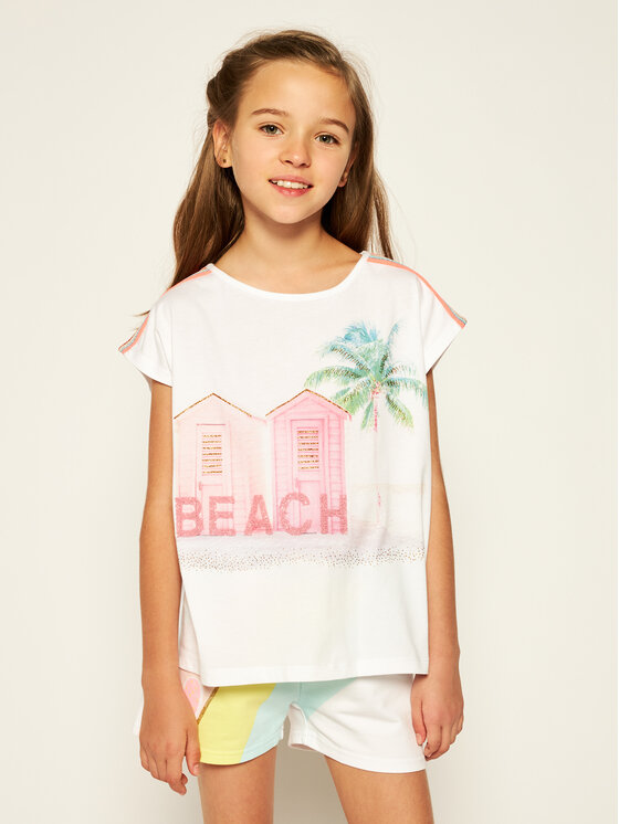 Billieblush Marškinėliai U15740 Balta Regular Fit