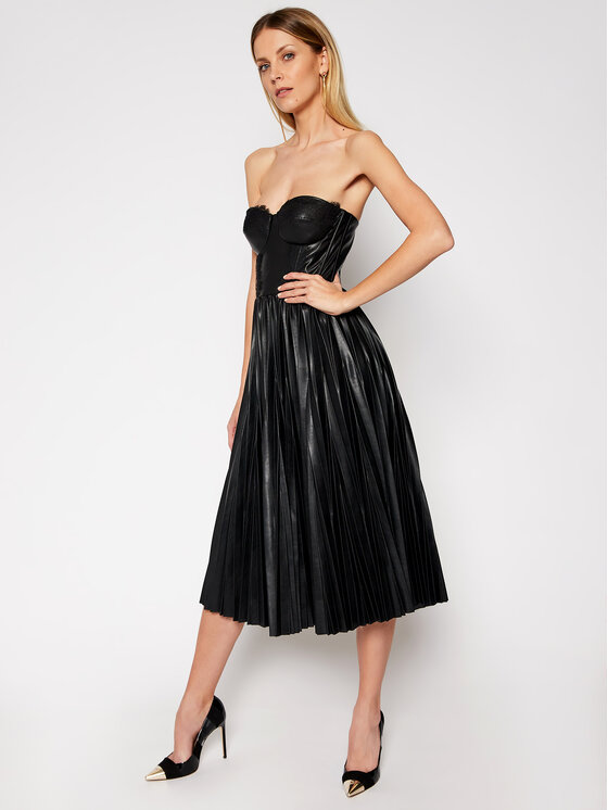Elisabetta Franchi Dirbtinės odos suknelė AB-973-11E2-V460 Juoda Loose Fit
