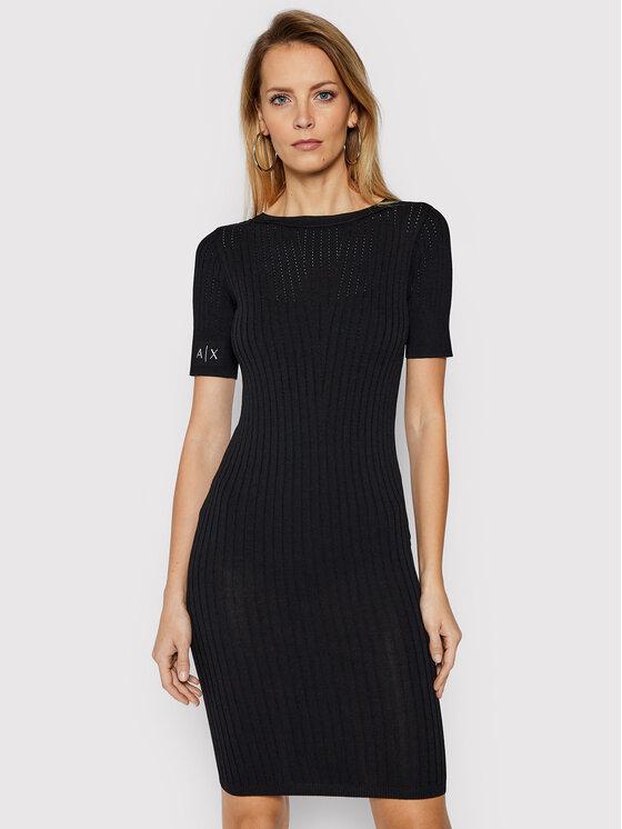 Armani Exchange Sukienka dzianinowa 3KYA1B YMM8Z 1200 Czarny Slim Fit