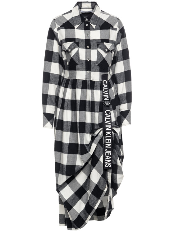 Calvin Klein Jeans Calvin Klein Jeans Sukienka koszulowa Buffalo Check B&W J20J212262 Szary Regular Fit