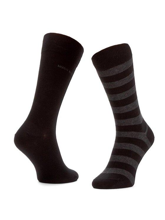 Boss Boss Комплект 2 чифта дълги чорапи мъжки Twopack Block Stripe 50310459 Черен