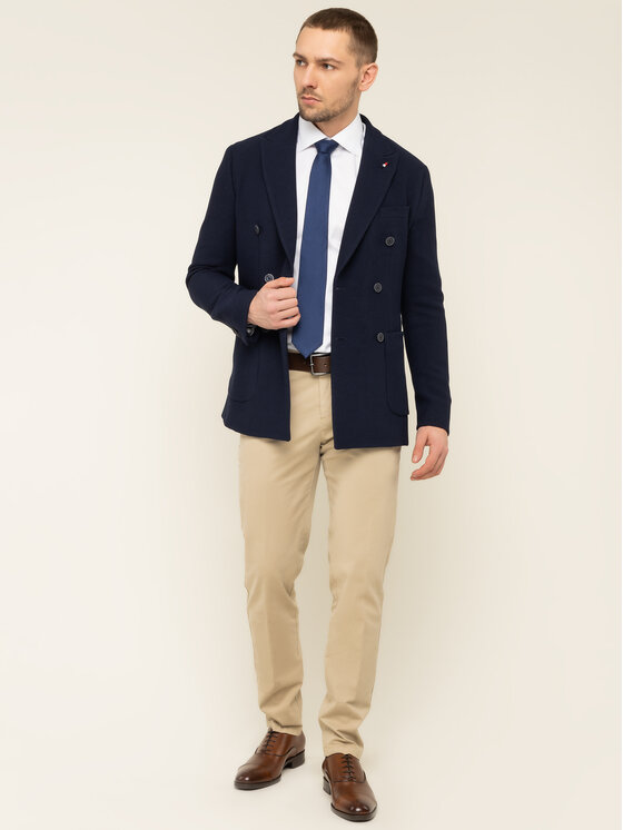 Tommy Hilfiger Tailored Švarkas Double Breasted TT0TT06684 Tamsiai mėlyna Slim Fit