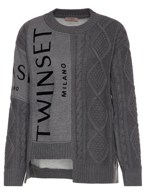 TwinSet TwinSet Sweter 192TT3060 Szary Regular Fit