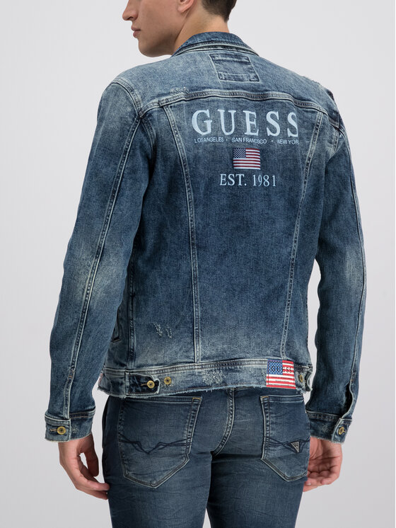 Guess Guess Jeansjacke William M93N14 D3P70 Dunkelblau Regular Fit