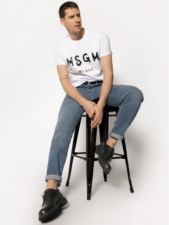 MSGM MSGM Тишърт 2840MM97 207098 Бял Regular Fit