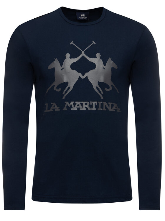 La Martina La Martina Тениска с дълъг ръкав OMR004 JS206 Тъмносин Regular Fit