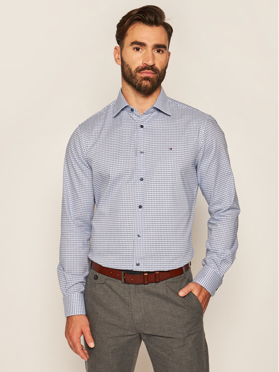 Tommy Hilfiger Tailored Tommy Hilfiger Tailored Košile Dobby TT0TT07596 Modrá Regular Fit