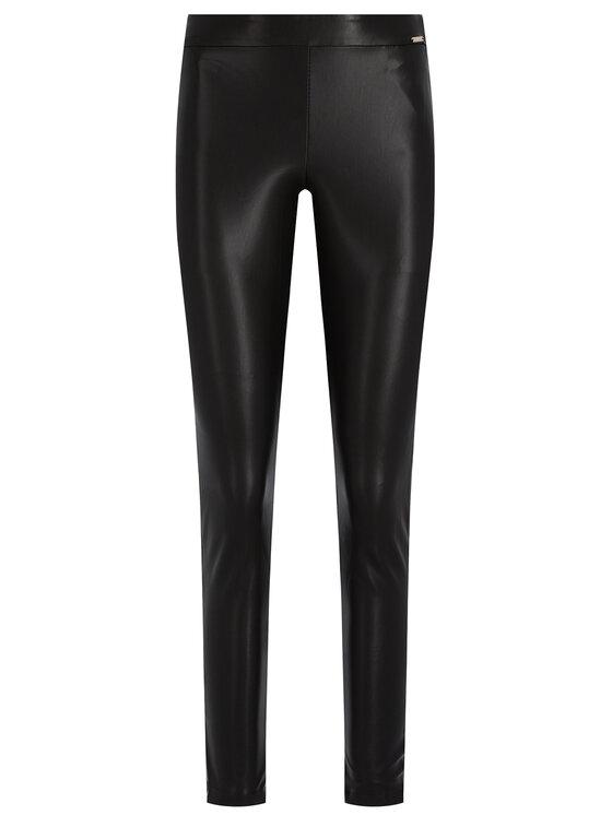 Guess Guess Kožené nohavice Dalia W01B65 WBG60 Čierna Regular Fit