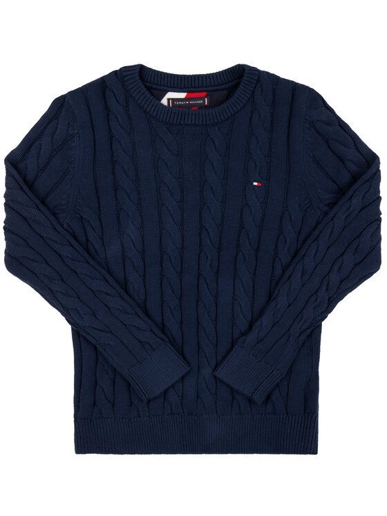 TOMMY HILFIGER TOMMY HILFIGER Maglione Essential Cable KB0KB05090 Blu scuro Regular Fit