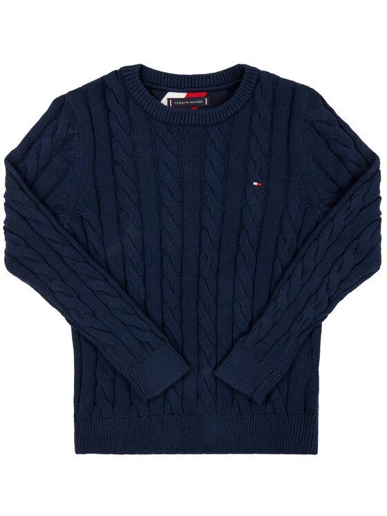Tommy Hilfiger Tommy Hilfiger Sweter Essential Cable KB0KB05090 D Granatowy Regular Fit