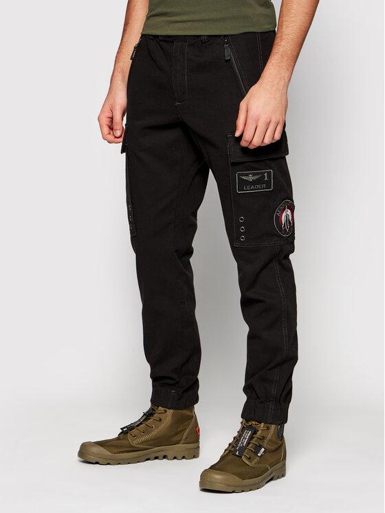 Aeronautica Militare Jogger kelnės 211PA1436CT2840 Juoda Regular Fit