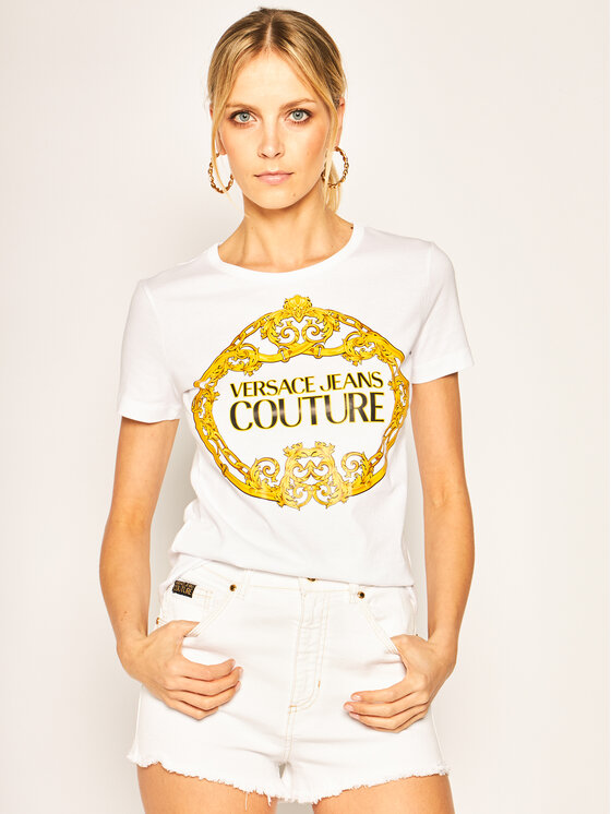 Versace Jeans Couture Versace Jeans Couture T-Shirt B2HVA7E0 Biały Regular Fit