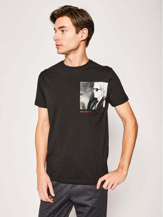 KARL LAGERFELD KARL LAGERFELD T-Shirt Crewneck 755092 501224 Μαύρο Regular Fit