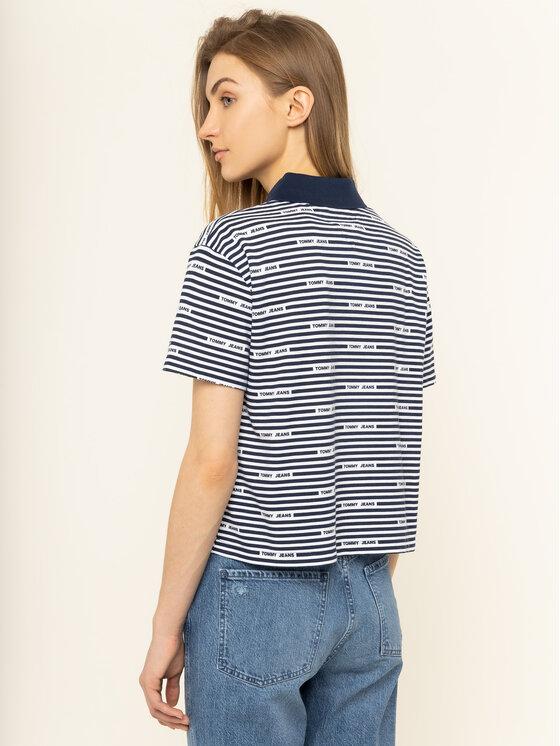 Tommy Jeans Tommy Jeans Тениска с яка и копчета Stripe DW0DW07643 Тъмносин Oversize