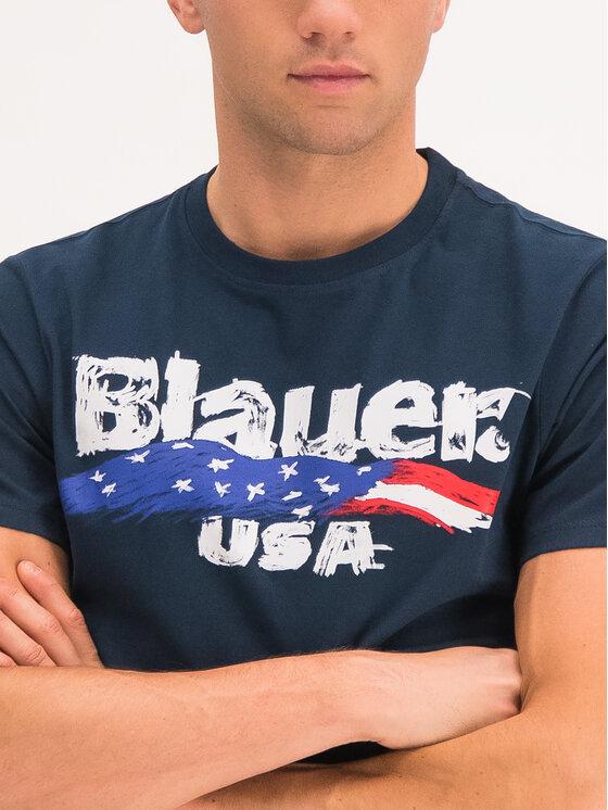 Blauer Blauer T-Shirt Brushstroke Print 19WBLUH02253 005568 Σκούρο μπλε Regular Fit