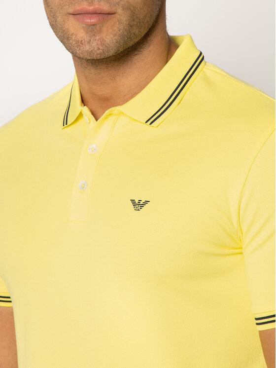 Emporio Armani Emporio Armani Тениска с яка и копчета 8N1F2B 1JPTZ 0255 Жълт Slim Fit