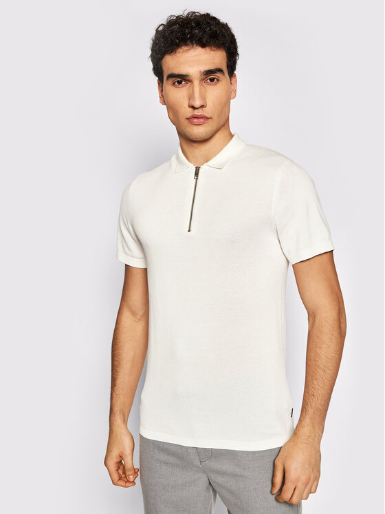 Jack&Jones PREMIUM Polo marškinėliai Blabowie 12187456 Balta Regular Fit