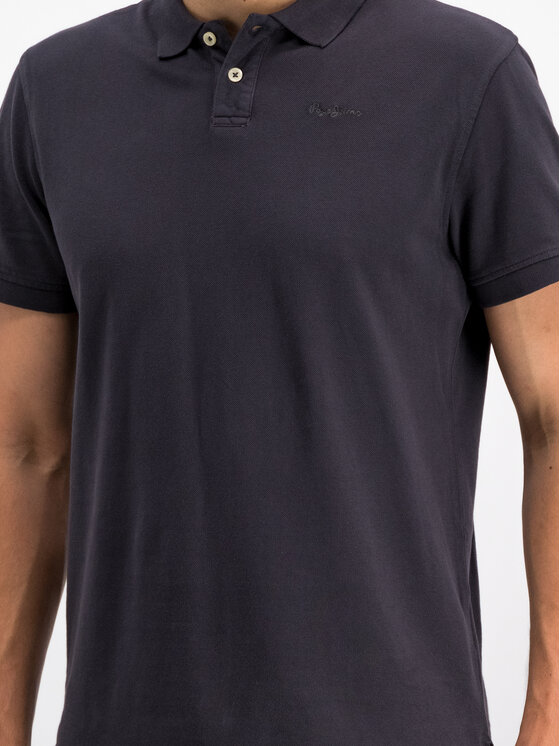 Pepe Jeans Pepe Jeans Тениска с яка и копчета PM541225 Тъмносин Slim Fit