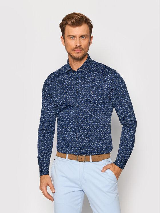 Tommy Hilfiger Tailored Marškiniai Floral Knit MW0MW19411 Tamsiai mėlyna Slim Fit
