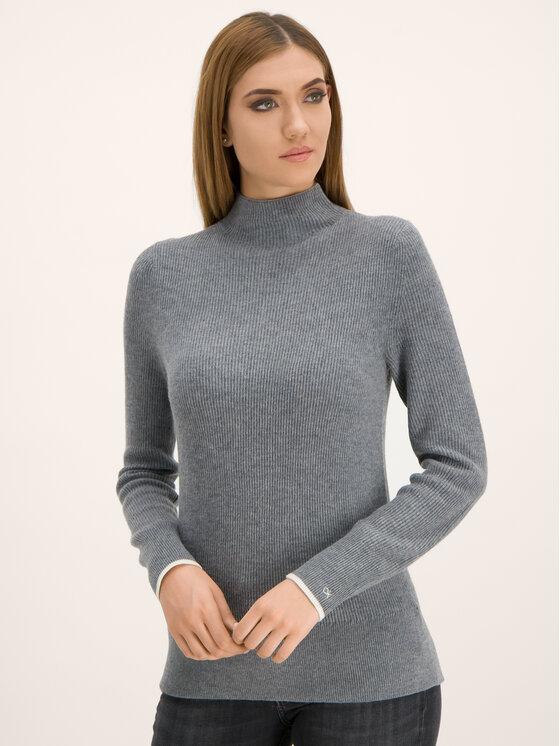Calvin Klein Calvin Klein Bluză cu gât Rib Funel K20K201328 Gri Regular Fit
