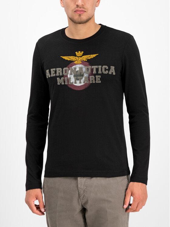 Aeronautica Militare Aeronautica Militare Тениска с дълъг ръкав 192TS1640J452 Черен Regular Fit