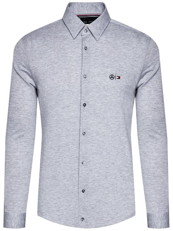 Tommy Hilfiger Tailored Tommy Hilfiger Tailored Košile MERCEDES-BENZ Tech Flex Jersey TT0TT08307 Šedá Slim Fit