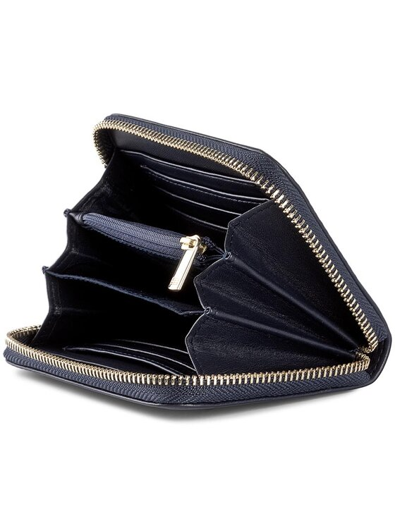 Tommy Hilfiger Tommy Hilfiger Duży Portfel Damski Smooth Leather Sm Za Wallet AW0AW04355 Granatowy