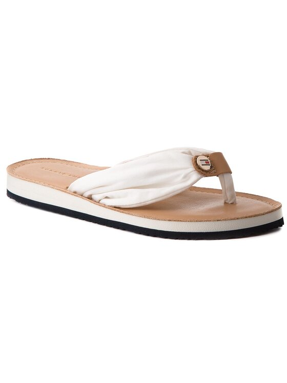 Tommy Hilfiger Tommy Hilfiger Šlepetės per pirštą Leather Footbed Beach Sandal FW0FW00475 Balta